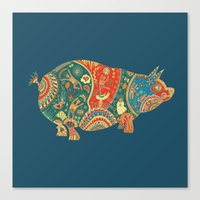 Painted Pig Canvas Print