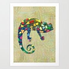 Animal Mosaic - The Chameleon Art Print