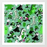 Monster March (Green) Art Print