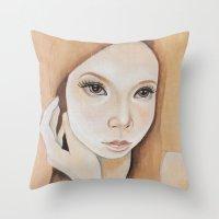 Self Portrait On Wood Throw Pillow