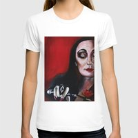 Morticia Addams Womens Fitted Tee White SMALL