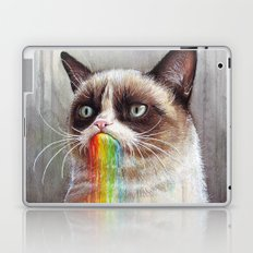 Cat Tastes the Grumpy Rainbow | Watercolor Painting Laptop & iPad Skin