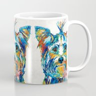 Colorful Yorkie Dog Art … Mug