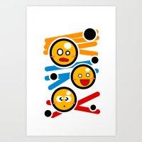Happy Smiley Trio Art Print