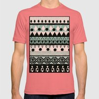PASTEL NORDIC TRIBAL  Mens Fitted Tee Pomegranate SMALL