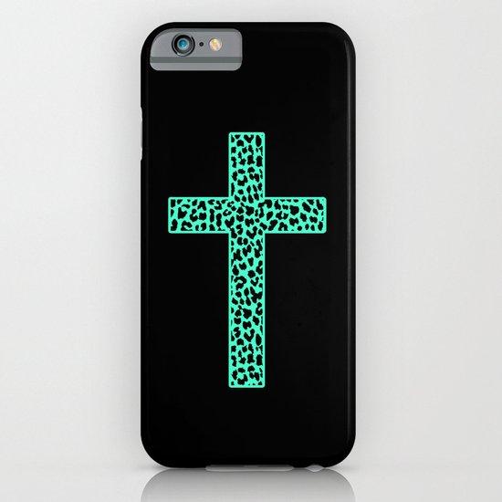Mint Leopard Cross iPhone & iPod Case