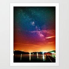 Milky Way over Water Art Print