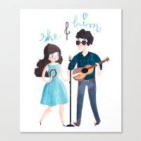 She & Him Canvas Print