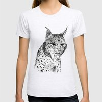 Iberian Lynx B/N Womens Fitted Tee Ash Grey SMALL