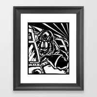 Monkey Pilot Black & Whi… Framed Art Print