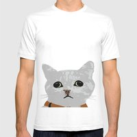 Grey Cat Mens Fitted Tee White SMALL