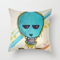 Art Skull Throw Pillow
