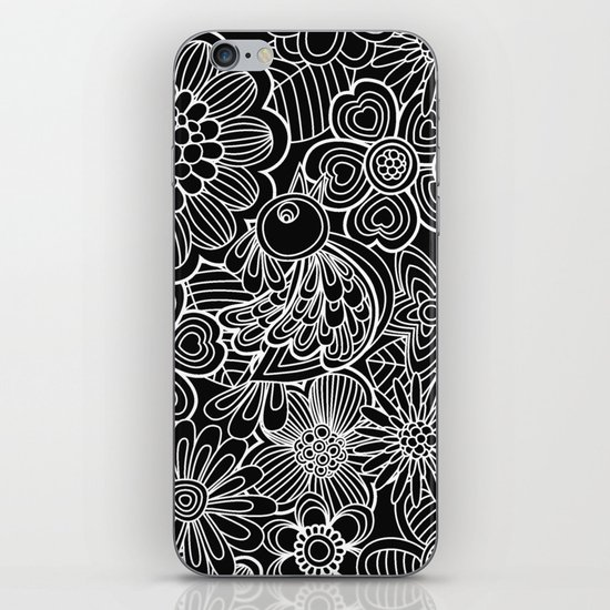 """Welcome birds..""in black and white. iPhone & iPod Skin"