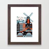 Framed Art Print featuring Amsterdam by Koivo