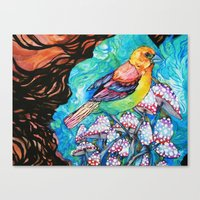 Birds And Mushrooms Canvas Print