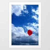 Red On Blue Art Print