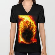 Unisex V-Neck featuring Skull On Fire by Saundra Myles