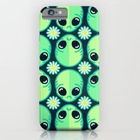 iPhone & iPod Case featuring Sad Alien and Daisy Nineties Grunge Pattern by chobopop