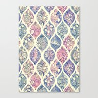 Patterned & Painted Floral Ogee in Vintage Tones Canvas Print