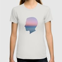 Head in the Clouds Womens Fitted Tee Silver SMALL