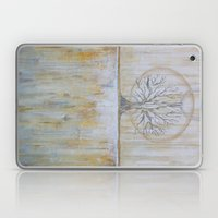Solstice - Gold and Grey Textured Painting - Abstract Tree Landscape Laptop & iPad Skin