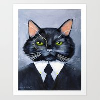 Black Cat in Suit Art Print