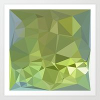 Olive Drab Abstract Low Polygon Background Art Print