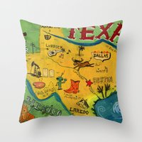 Postcard from Texas print Throw Pillow