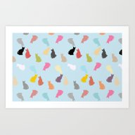 Art Print featuring Cat Pattern by Artsimo