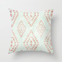 mint & coral tribal pattern Throw Pillow