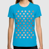 Stylish Rose Gold Polka … Womens Fitted Tee Teal SMALL