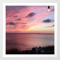 Sunset on the Sound - Outerbanks, North Carolina Art Print