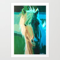 Teal Horse Art Print