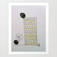 Button suicide. Art Print