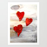 Hearts On Grey Art Print