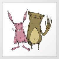 Bunny And Bear Friends  Art Print