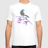 Bluebird On Magnolia Mens Fitted Tee White SMALL