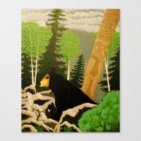 Bear in lava Canvas Print