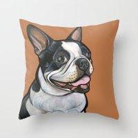 Snoopy the Boston Terrier Throw Pillow
