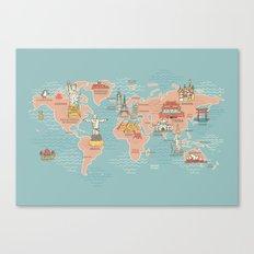 World Map Cartoon Style Canvas Print
