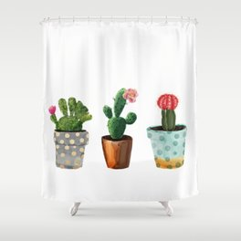 Shower Curtain - Three Cacti With Flowers On White Background - LaVieClaire