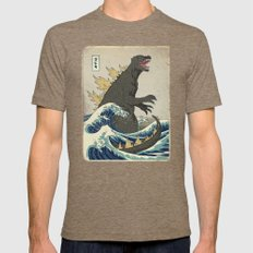 The Great Godzilla off Kanagawa Mens Fitted Tee Tri-Coffee SMALL