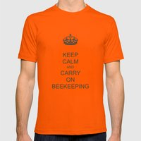 Keep Calm and Carry on Beekeeping Mens Fitted Tee Orange SMALL
