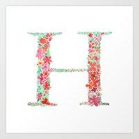 Floral Monogram Letter H Art Print