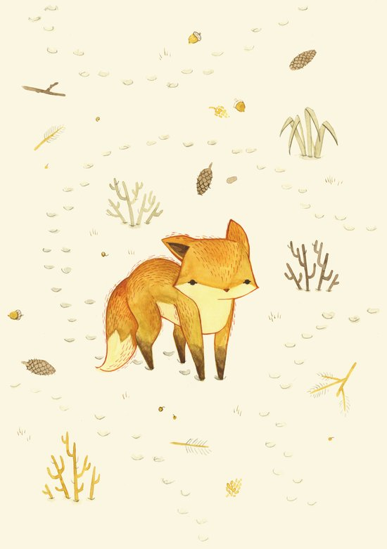 Lonely Winter Fox Art Print
