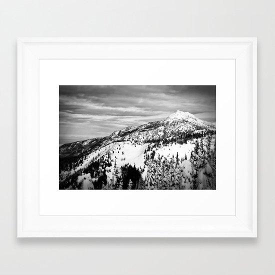 Snowy Mountain Peak Black and White Framed Art Print