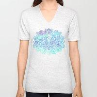 Indigo & Aqua Abstract - doodle painting Unisex V-Neck
