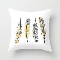 Mustard Feathers Throw Pillow