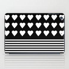 Heart Stripes White on Black iPad Case