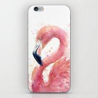Pink Flamingo Watercolor iPhone & iPod Skin